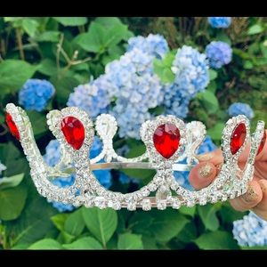 Red silver crystal crown tiara bridal pageant prom